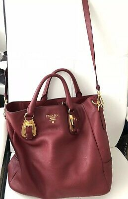 575c26f54588 PRADA RUBINO VITELLO Daino Leather Shopping Tote - £520.00 | PicClick UK