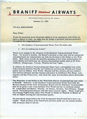 Braniff International Airways 1961 Letter to  Employees Routes Profit Outlook