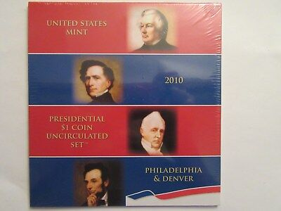 2010 US Mint Presidential $1 Coin Uncirculated Set, 8 coins, 4 P + 4 D unopened