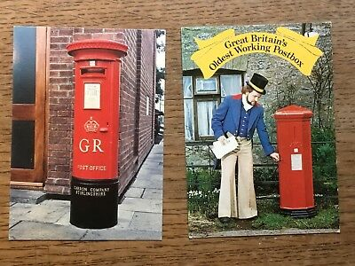 2 X Post Office Pillar Boxes Postcards #2275