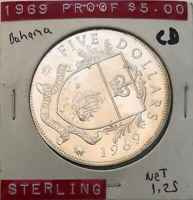 1969 45 mm 5 Dollars Bahamas Proof Sterling Silver Coin