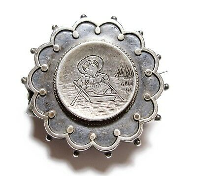 Beautiful Old Unusual Antique Victorian Silver Brooch Pin 1882 For Repair (A10)