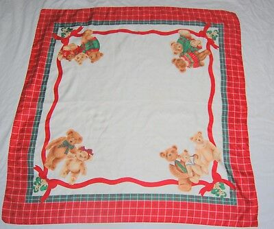 Vtg Teddy Bear Sweater Christmas Scarf Square Red Green White Gold 34 Silk ?