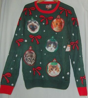 Ugly Christmas Sweater Kitten Cat Bulbs Green Red Party Sweater Dec 25th L NWT