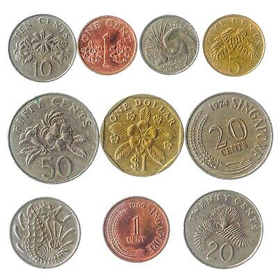 Different 10 Coins From Singapore Asian Island Singaporean Old Collectible Money