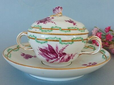 Rare Antique Meissen hand painted covered Cup & Saucer c. 1763-74