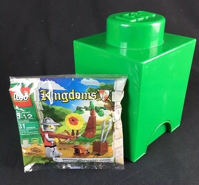 LEGO Storage Brick 1 Green Storage Container and Kingdoms Polybag 30062 Lot