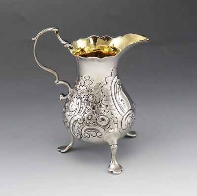 Antique 1761 English Sterling Silver Tea Creamer Hand Chased Gold Wash