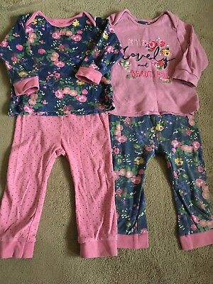 Mothercare Baby Girls Pyjamas 9-12 Months X 2 Pairs Mix And Match