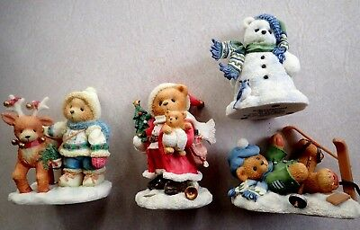 Lot  4 1990's CHERISHED TEDDIES Christmas Holidays.  Outdoor Themed