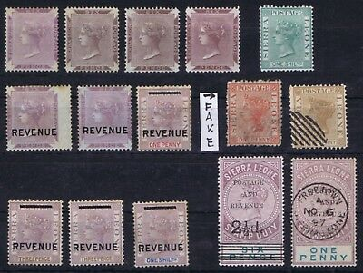 SIERRA LEONE Small Collection of 15 Classic issues #1 + Revenue + two old fakes