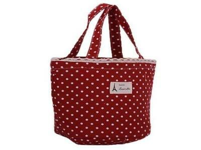Little Cotton Tote Storage Bag For Your Bits & Bobs -  Red Polka Dots