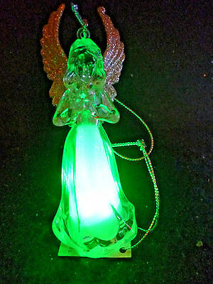 Hallmark Gift Bag Angel Praying Ornament Changing Colors with Silver Cord NEW