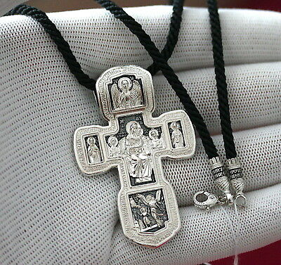 RUSSIAN ORTHODOX BIG BODY CROSS+BLACK SILK CORD SILVER 925 PRAYER CRUCIFIX 35g !