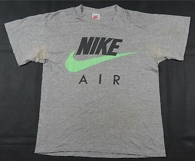 22709a7871a224 Rare Vintage NIKE Air Spell Out Swoosh Big Logo T Tee Shirt 90s Gray Tag  Green