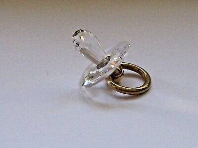 Christening gift Crystal glass 'Dummy PLATED GOLD RING