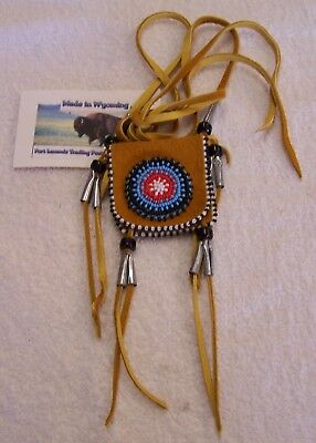 Hand Made Small Beaded Neck Pouch Rendezvous Black Powder Mountain Man 17