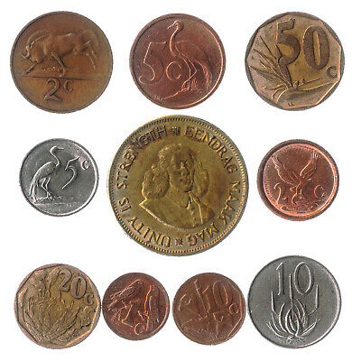 10 South African Coins From Africa (Rsa) Old Collectible Coins Cents 2001-2018