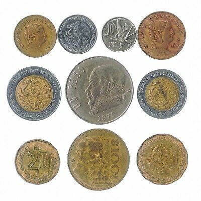 10 Mexican Coins Mexico Old Collectible Coins Centavos, Pesos 1970-2018