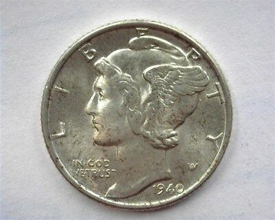 1940 Mercury Silver 10 Cents  Gem+ Uncirculated Reverse Toning!