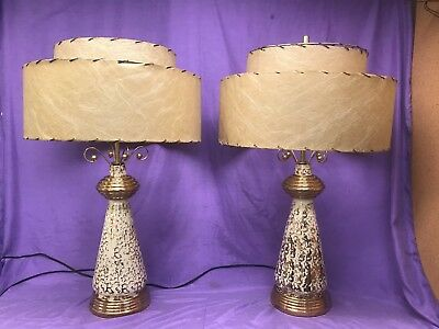 Vintage PAIR 24k Hand Painted DEENA CHINA TABLE LAMPS MID CENTURY MODERN ATOMIC