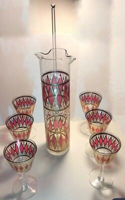 Vintage Glass Martini Cocktail Pitcher Bar Set 6 glasses w/glass stir