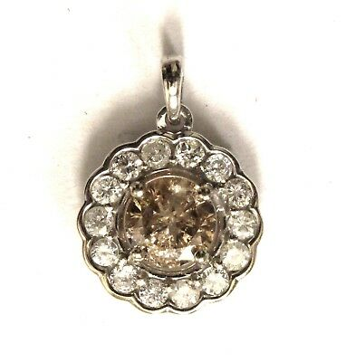 New 14k white gold 1.11ct halo champagne brown white diamond slide pendant 1.4g