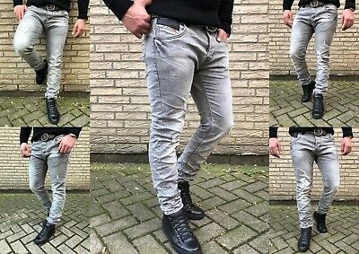 HERREN BASIC STYLE YOUNG SKINNY Fashion Grey STONEDWASHED SKINNY FIT JEANS HOSE