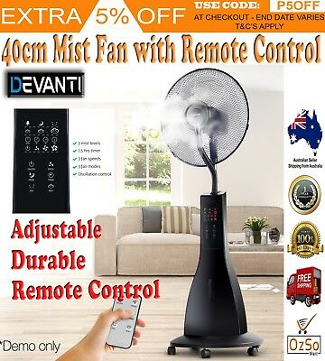Devanti Portable Mist Spray Fan Pedestal Remote Cool Water Quiet Breeze Black