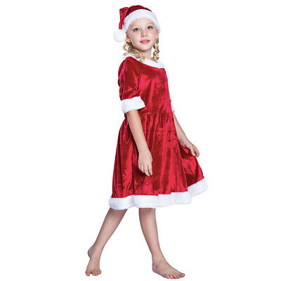 9f386bc22 Little Miss Santa Claus Fancy Dress Costume for Girls Christmas Party Outfit  Hat