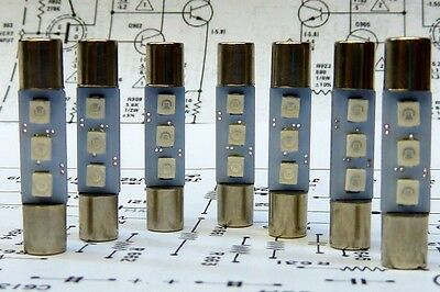 7 x LED Replacement Fuse Lamps for Kenwood KT-7000 Receivers; Cool Blue Color