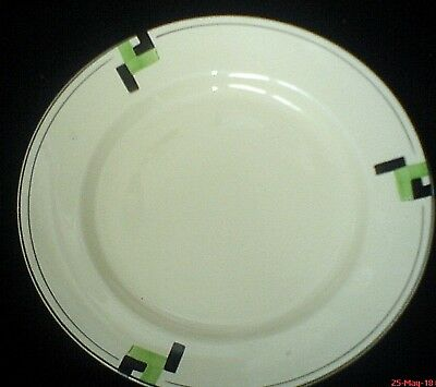 Royal Worcester PALISSY HAND PAINTED Art Deco Green/Black Patt 9 ¾ in Plate 836