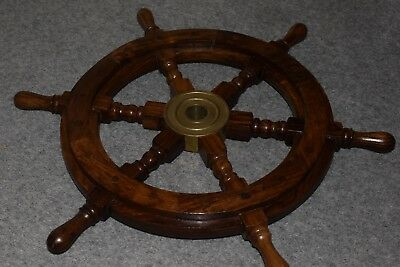 Nautical Ship Wooden Steering Wheel With Brass Center 19""