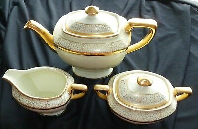 Vintage Hall Gold White Teapot Sugar Creamer Complete Set Mint Condition