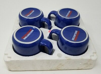 Set of 4 Marlboro Unlimited Blue Speckled Soup Chili Coffee MUG CUP BOWLS