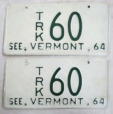 1964 VT Truck License Plate Pair Two Digit #60 Vtg Old Vermont