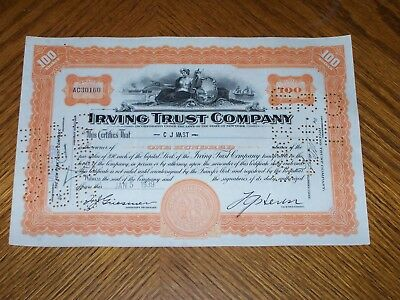 Lot of 10 Irving Trust Company. Two Types Issued 1920's & 30's