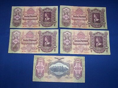 Lot of 5 Bank Notes from Hungary 100 Pengo Issued 1930