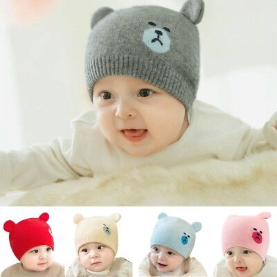 Baby Knitted Hat Cute Bear Ear Toddler Beanie Infant Kids Warm Woolen Yarn Cap