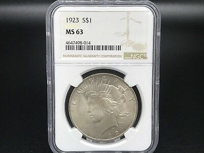 1923 Peace Dollar - NGC MS63 - Certified Choice UNC Silver $1