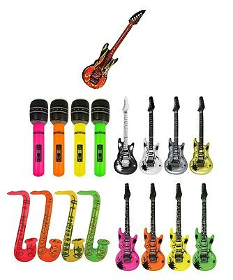 Inflatable GUITAR - SAXOPHONE - MICROPHONE - Blow Up Fancy Dress Disco Hen Party