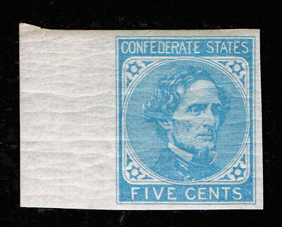 Genuine Confederate Csa Scott #6 Light Blue 5¢ Mint Og H 1862 De La Rue Printing