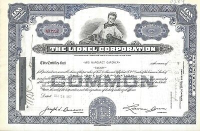 The Lionel Corporation.......1957 Common Stock Certificate