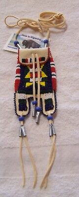 Hand Made Beaded Medicine Neck Bag Rendezvous Black Powder Mountain Man 1