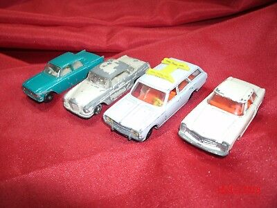 4 alte Metall Autos Siku & by Lesney Mercedes Benz - Opel Rekord - Ford