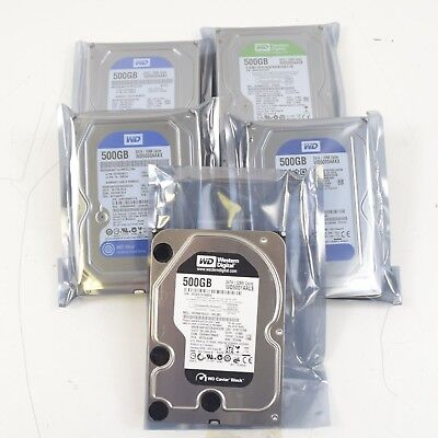 "Lot of 5) WD & Seagate SATA 500GB 3.5"" Desktop Hard Drives Working Clean Wiped"