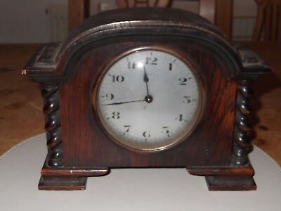 Vintage Wooden Small Mantel Clock Swiss made