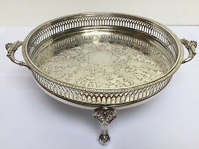 Silver Plated, Scroll Handled, Bird Claw & Ball Footed 9' Cavalier Gallery Tray
