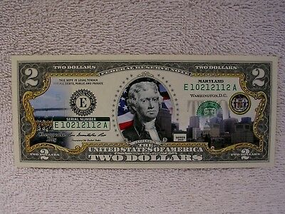 Maryland  $2 Two Dollar Bill - Colorized State Landmark - Uncirculated Authentic