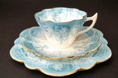 Rare Antique Pre-SHELLEY WILEMAN Cup Saucer Plate CAMEO Trio Snowdrop TURQUOISE